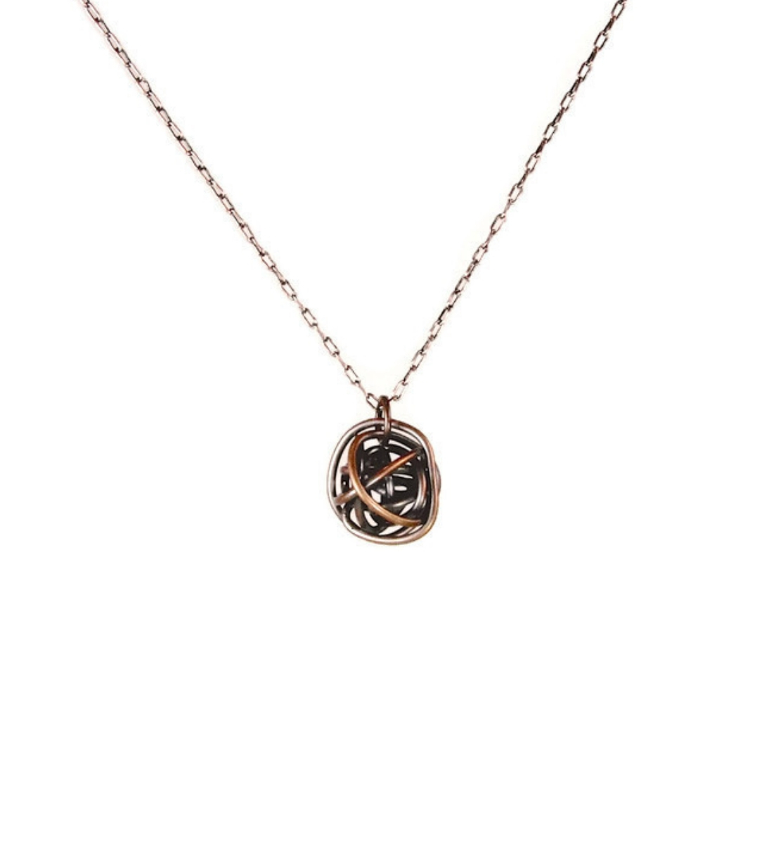 Scribbles Small Copper Pendant Necklace Tactile Melodies
