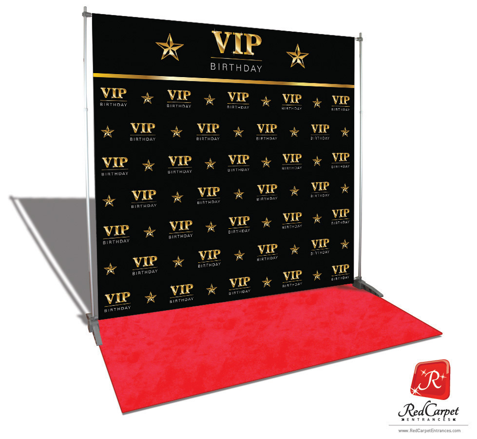 Vip Birthday Backdrop Black 8x8 Red Carpet Runner Red Carpet Backdrop Event Shop