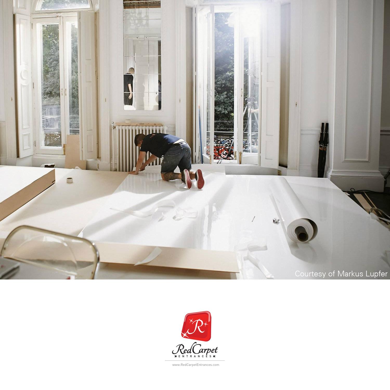 White High Gloss Flooring Red Carpet