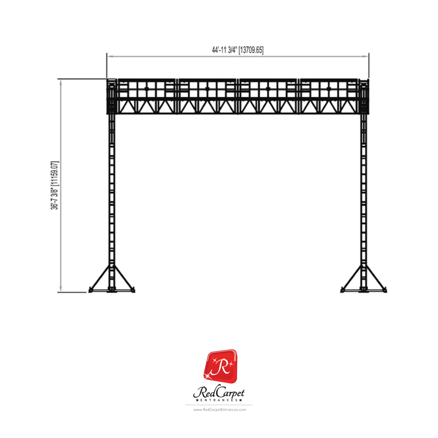 40X40 LADDER ROOF WITH PA WINGS TRUSS — Red Carpet Runner & Red Carpet  Backdrop Event Shop