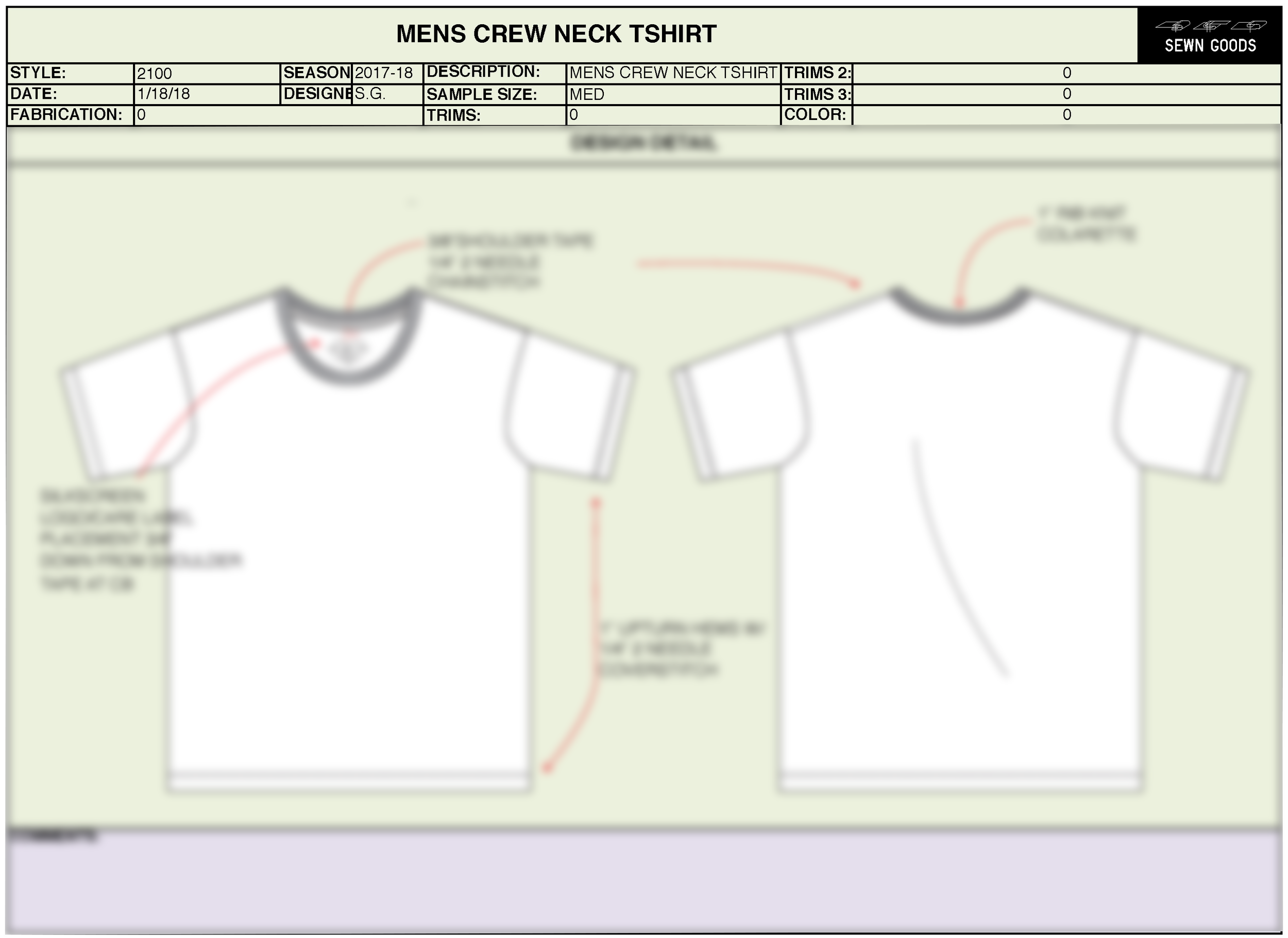 2100 Crew T Shirt Tech Pack Template Xs 4xl Sewn Goods Pattern Makers Sample Makers Apparel Design And Development