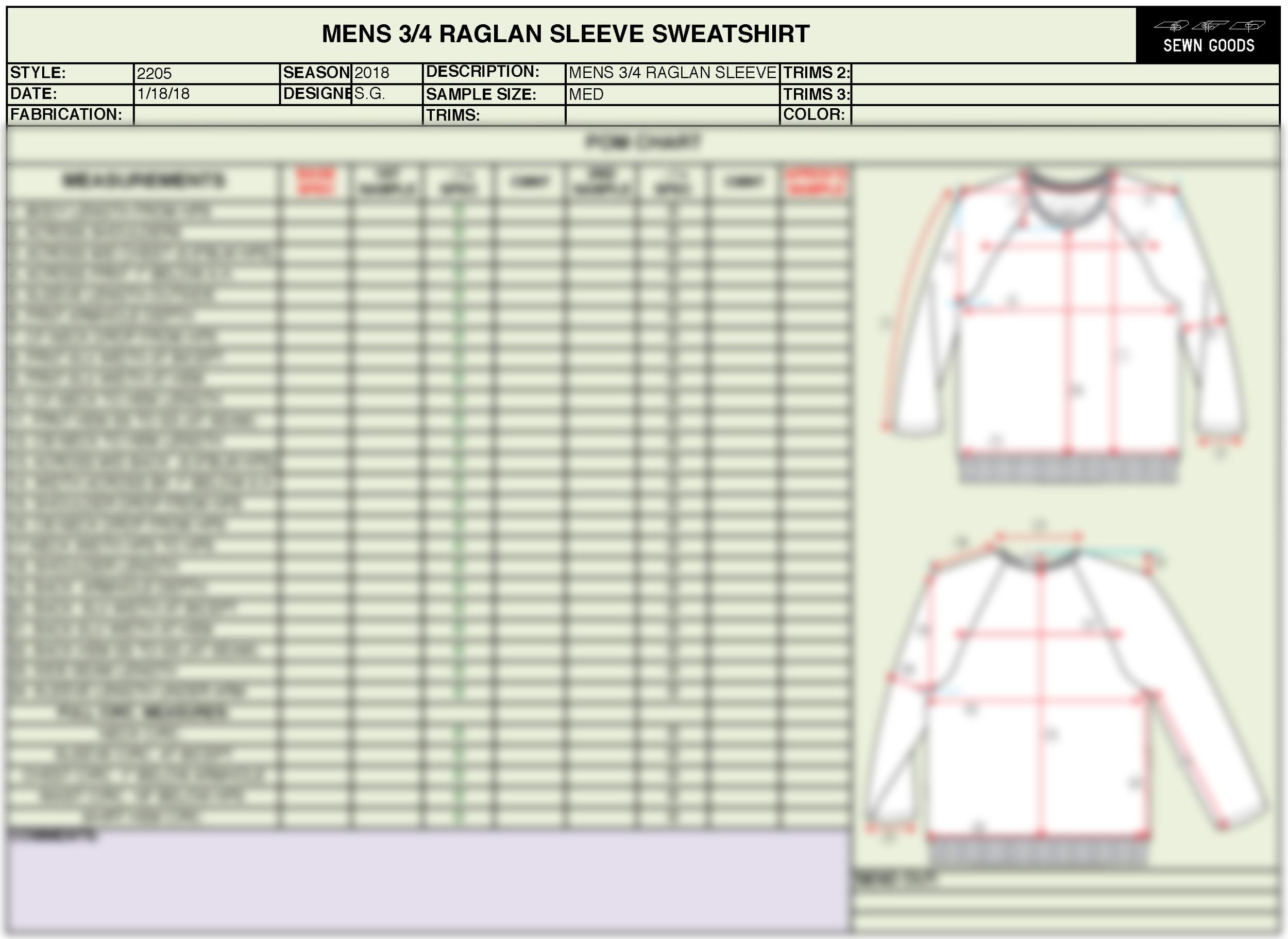 2205 3 4 Raglan Sleeve Sweatshirt Tech Pack Template Xs 4xl Sewn Goods Pattern Makers Sample Makers Apparel Design And Development