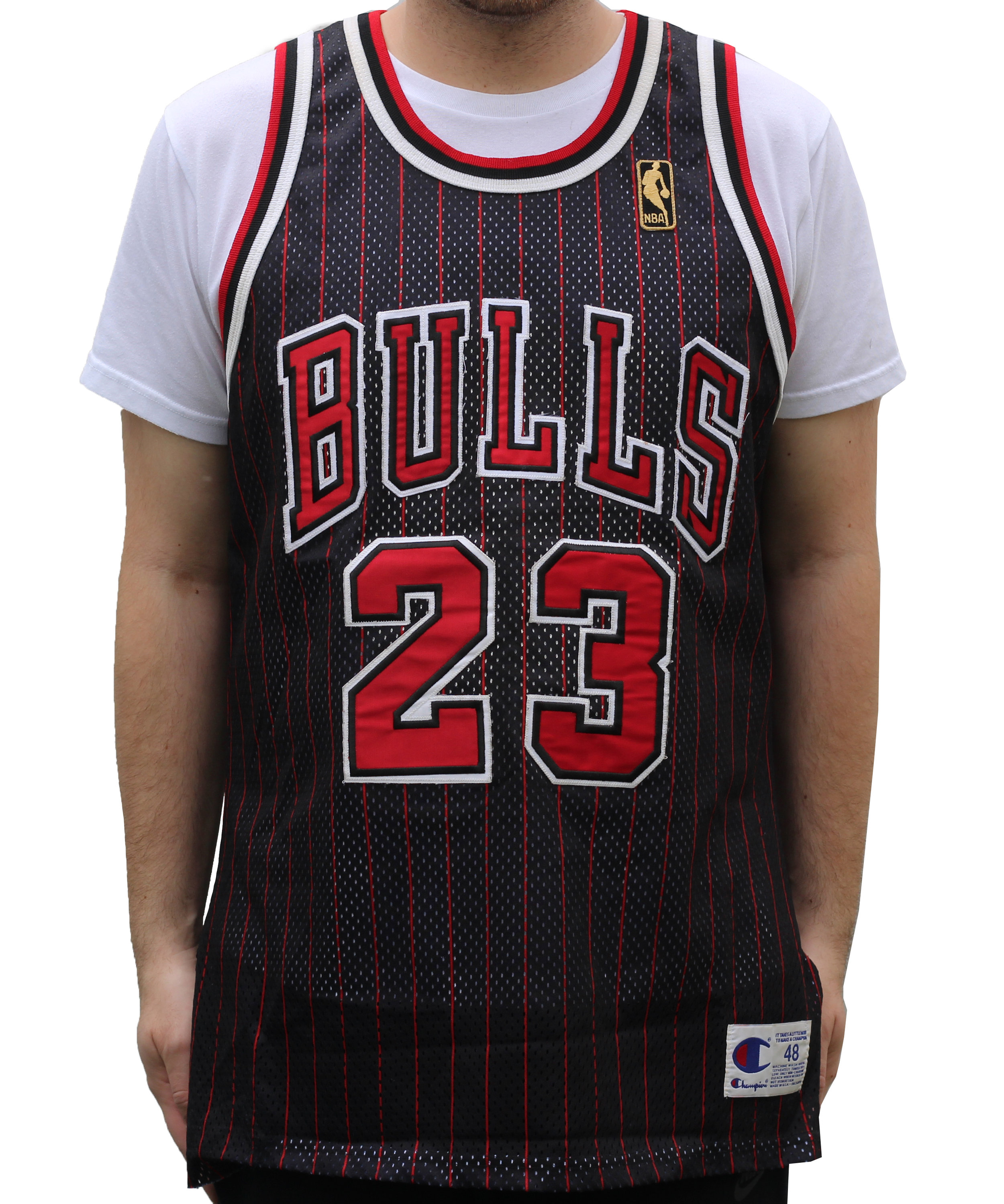 new product 62ced be9b8 Vintage Champion Chicago Bulls Pinstripe Jordan Authentic Anniversary  Jersey (Size 48) — Roots
