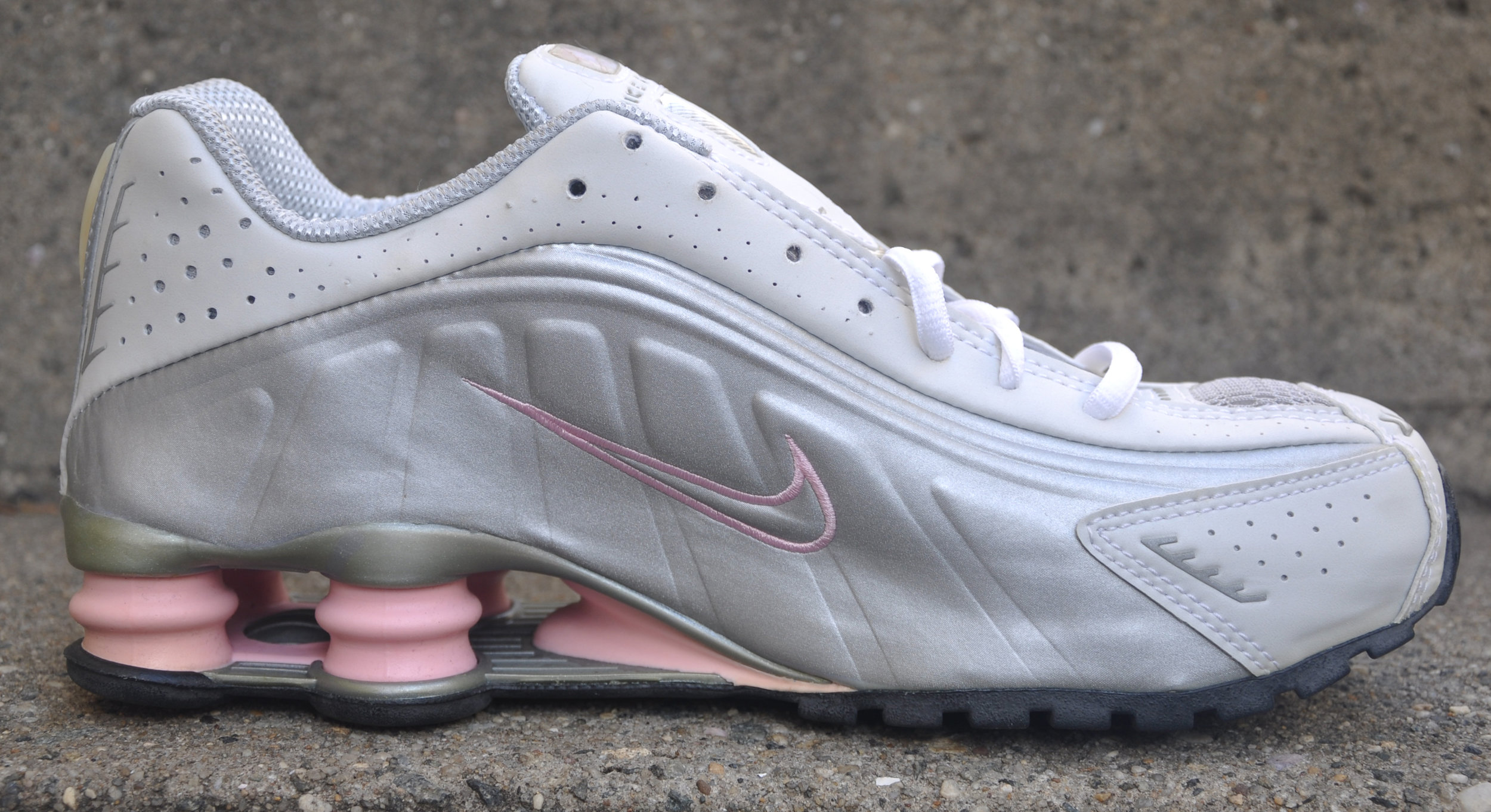 huge discount ba74e 8ae9a Women's Nike Shox R4 B Metallic Silver / Real Pink (Size 9.5) DS — Roots