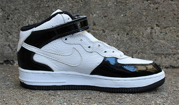Kids Vintage Nike Air Force 1 Mid Sc Black White Patent Leather