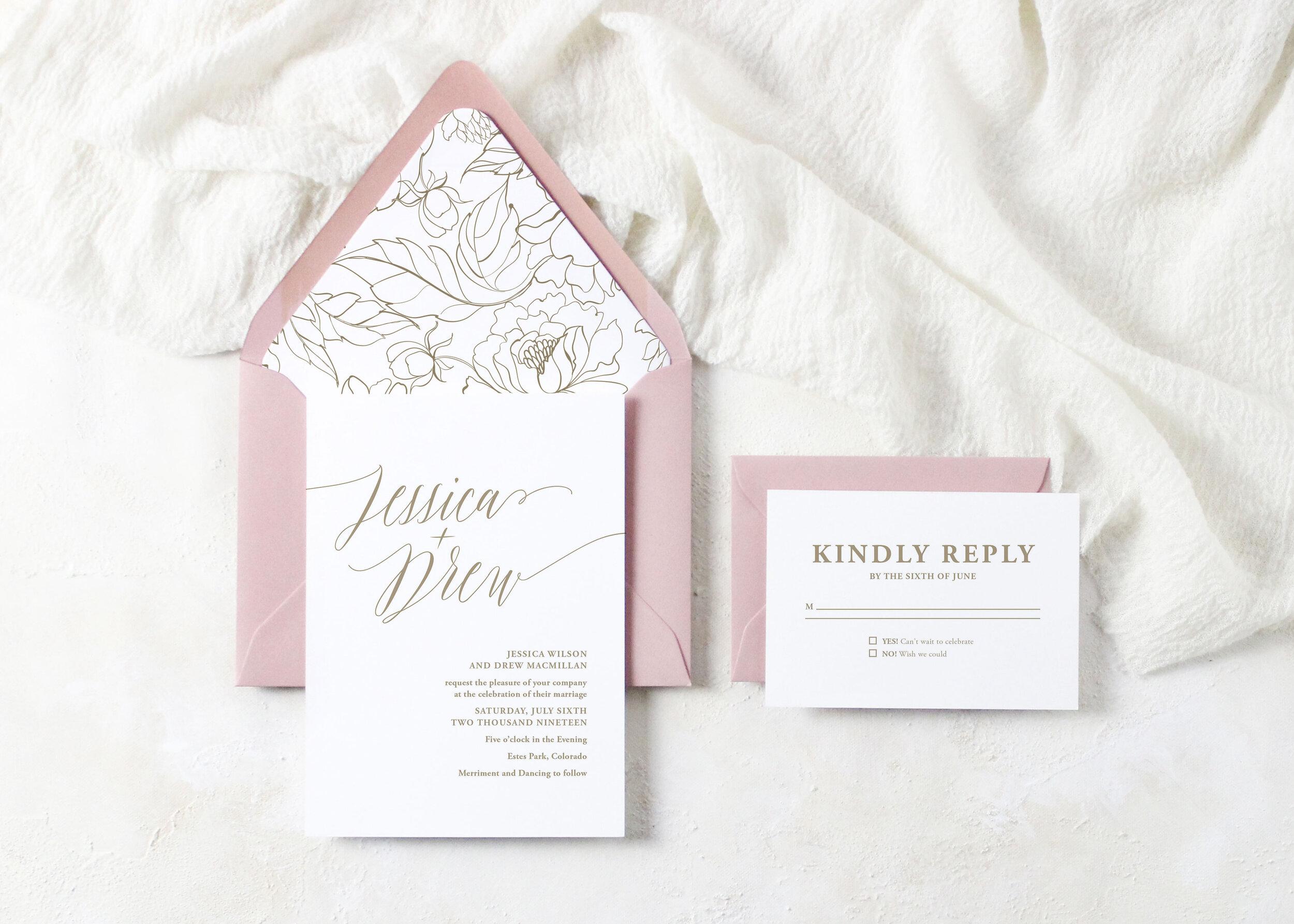 Jessica Wedding Invitation Suite Ivory House Creative