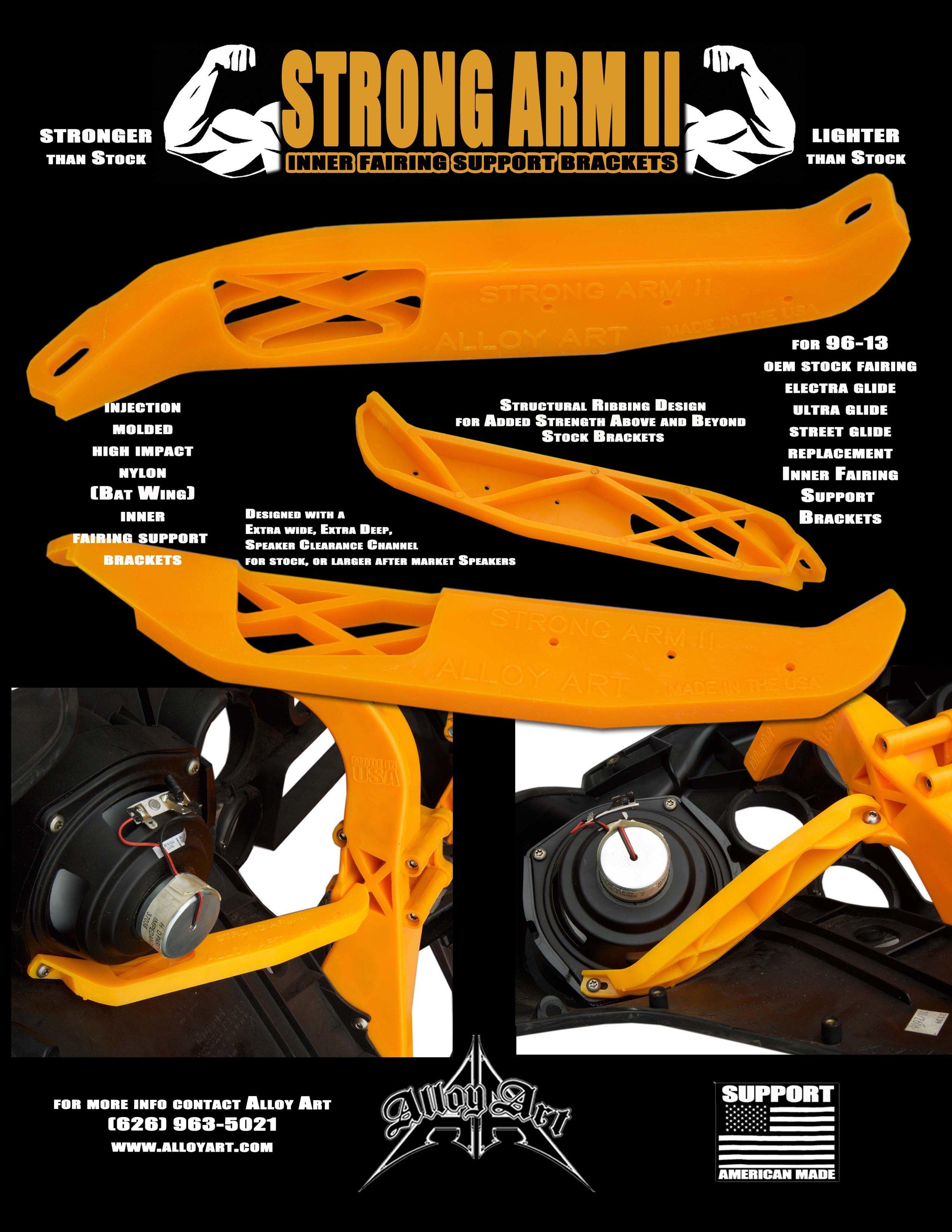 Alloy Art Strong Arm II Inner Fairing Support Brackets High Impact Nylon Harley