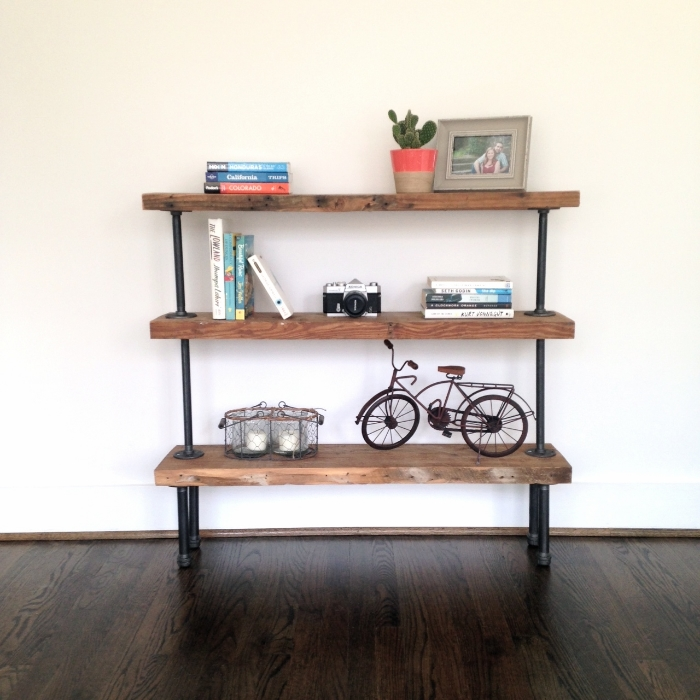 Reclaimed Wood Pipe Shelving Unit