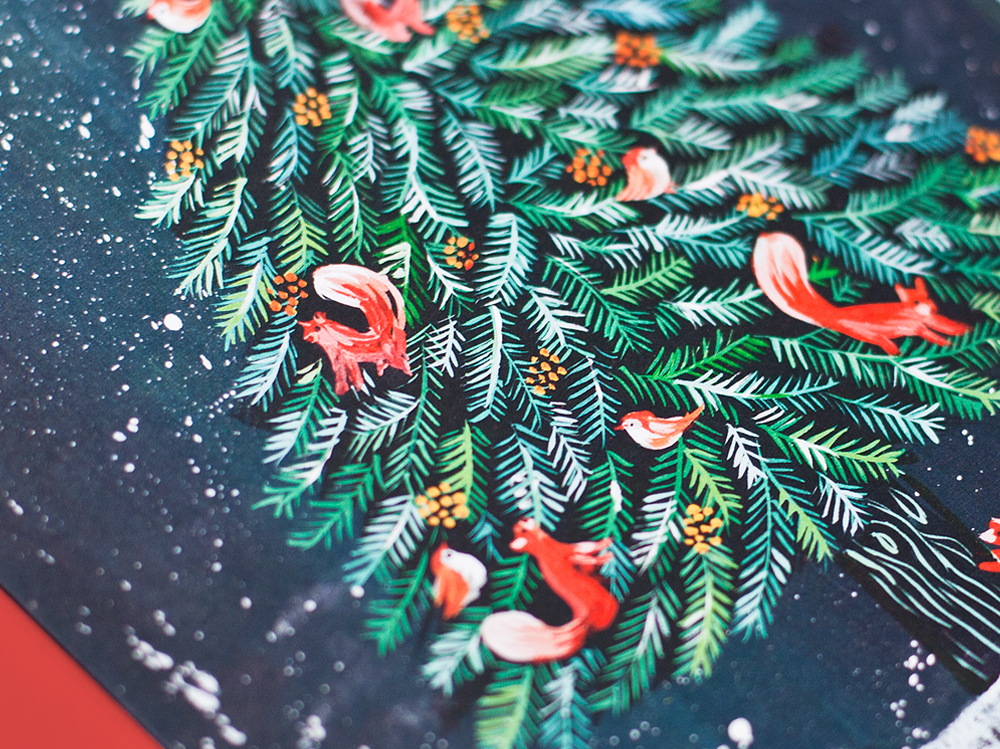 Christmas Illustration.Greeting Card A5 Christmas Tree Helena Perez Garcia