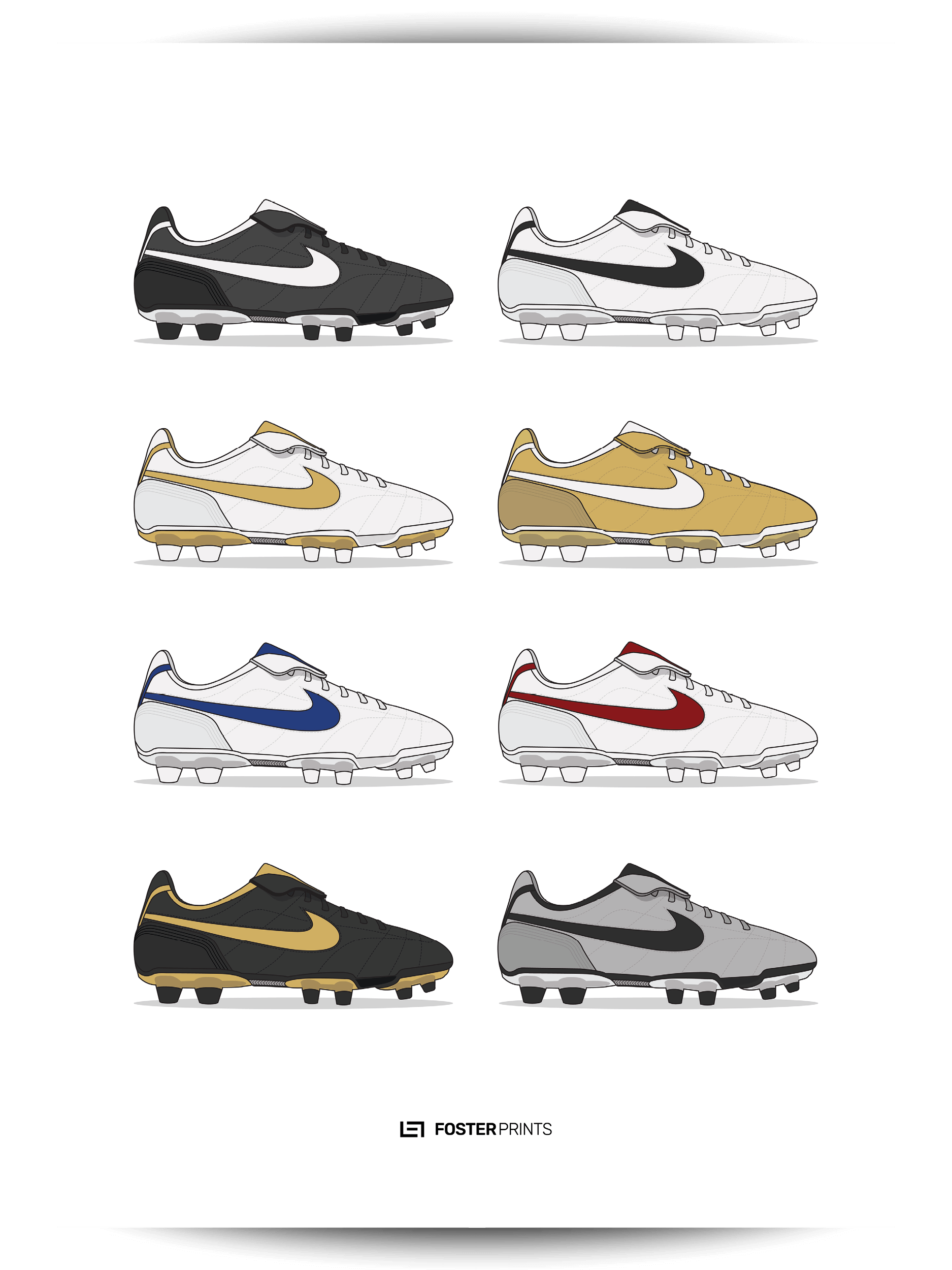 buy popular 59508 8b057 Nike Tiempo Legend I Collection Football Poster — Foster Prints -  Illustrated Football Posters