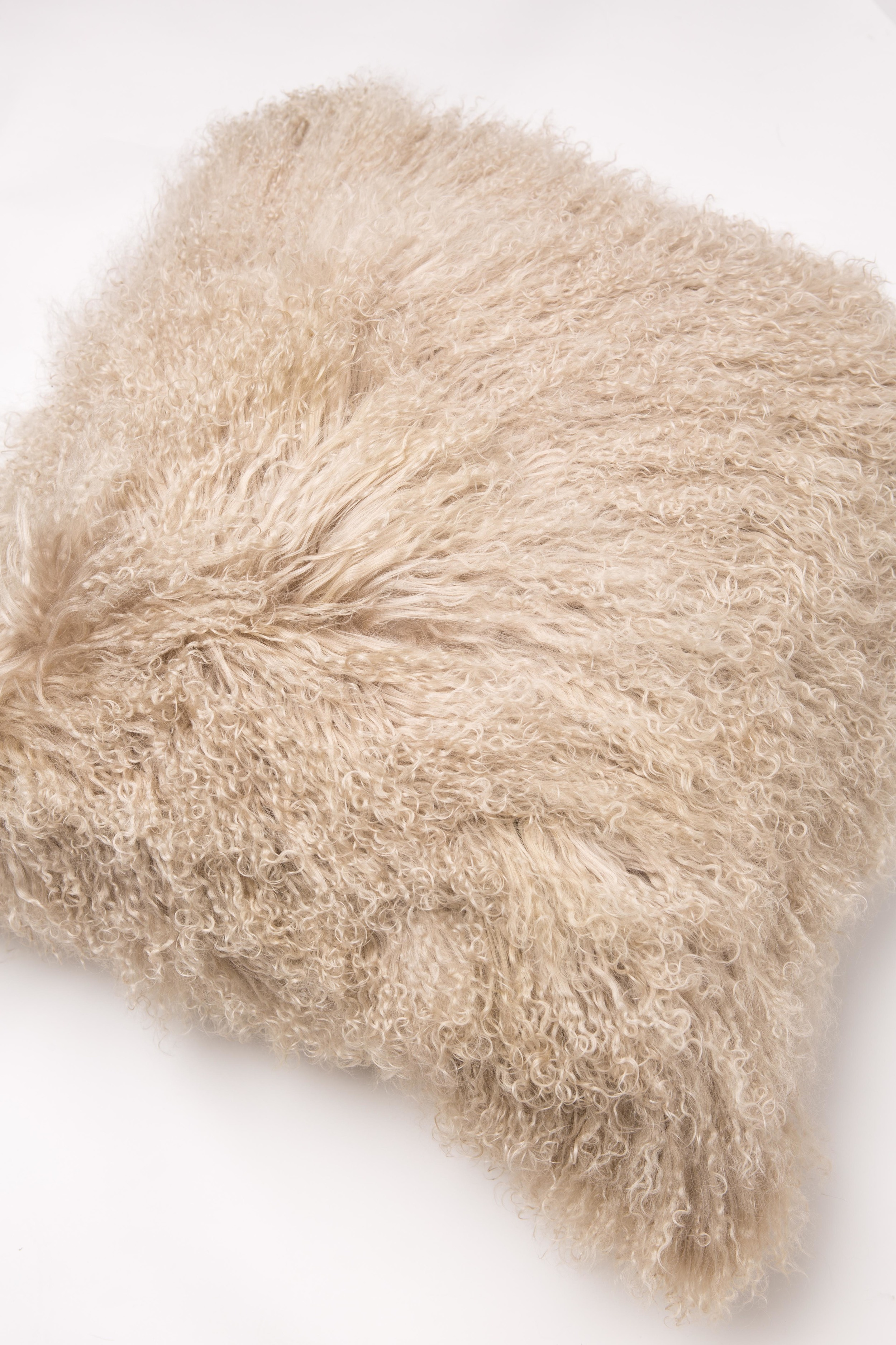 20x20 Smoke Gray Mongolian Curly DOUBLE SIDED Lamb Real Fur Pillow w//Insert