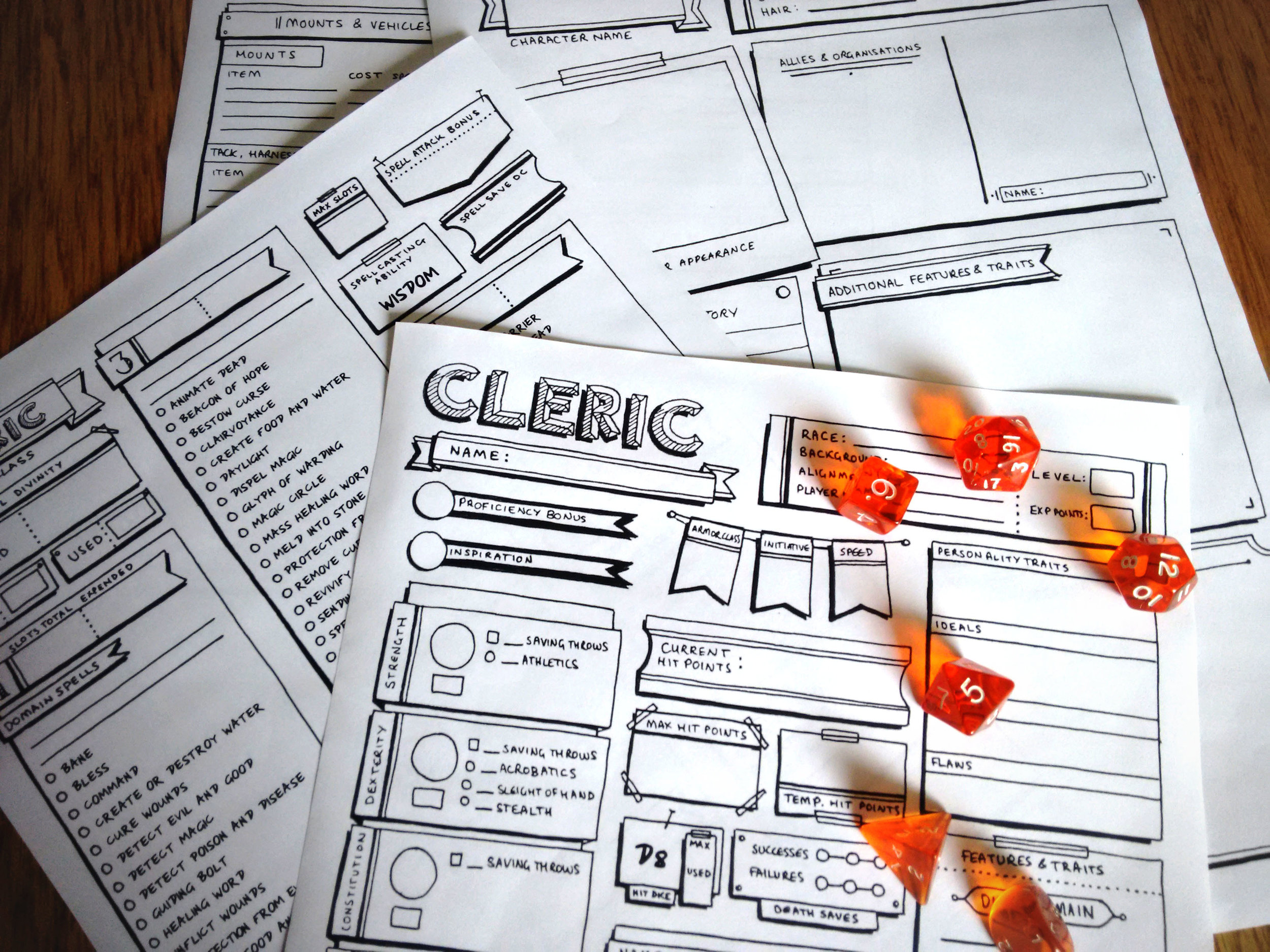 Cleric - Individual Character Sheet Pack - Classic Style — r-n-w