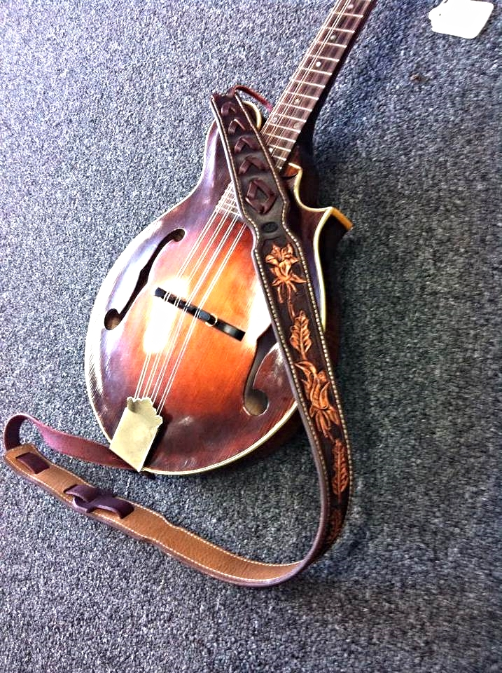 Custom Leather Brown Mandolin Strap for an A Style or F Style Instrument Strap
