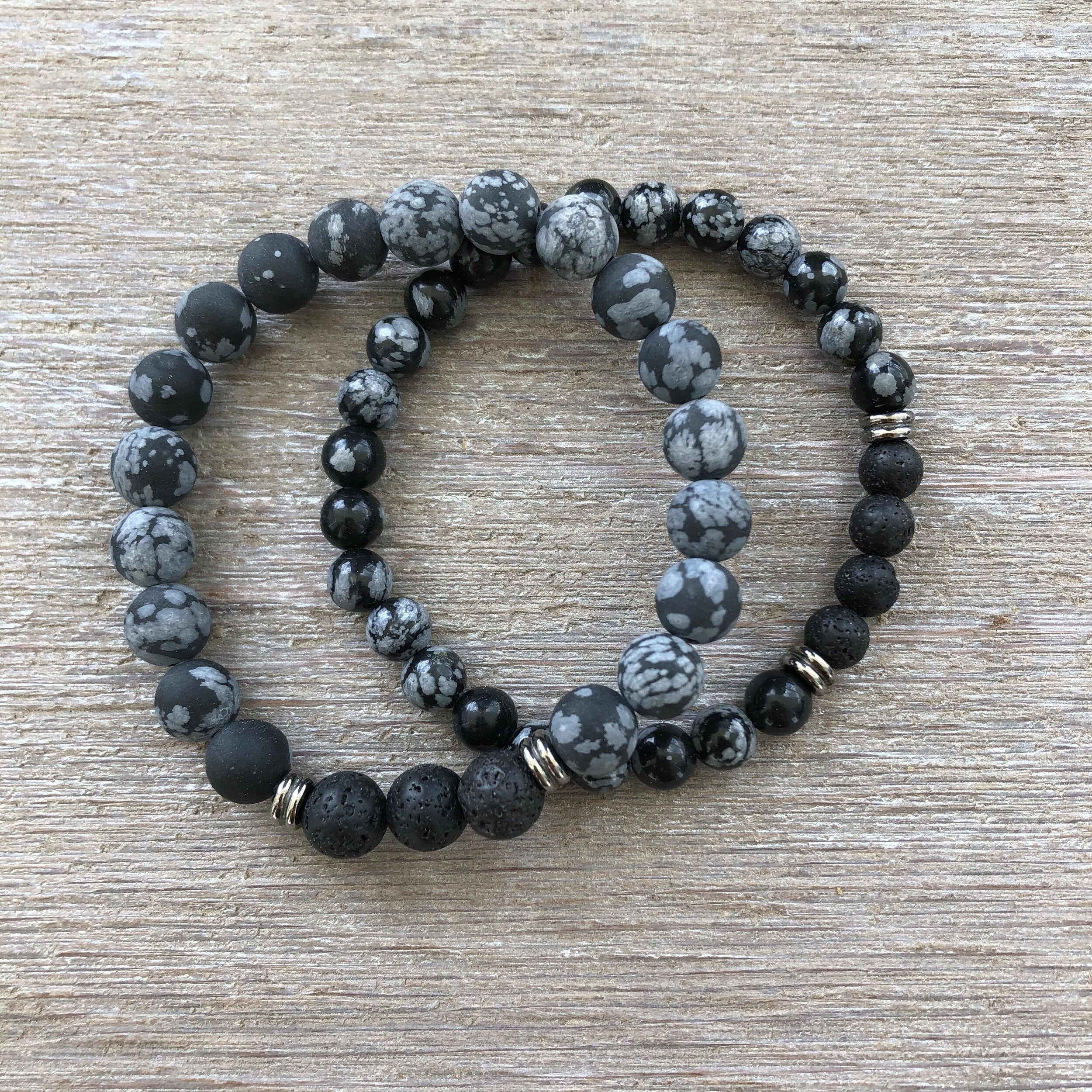 Snowflake Obsidian And Lava Rock