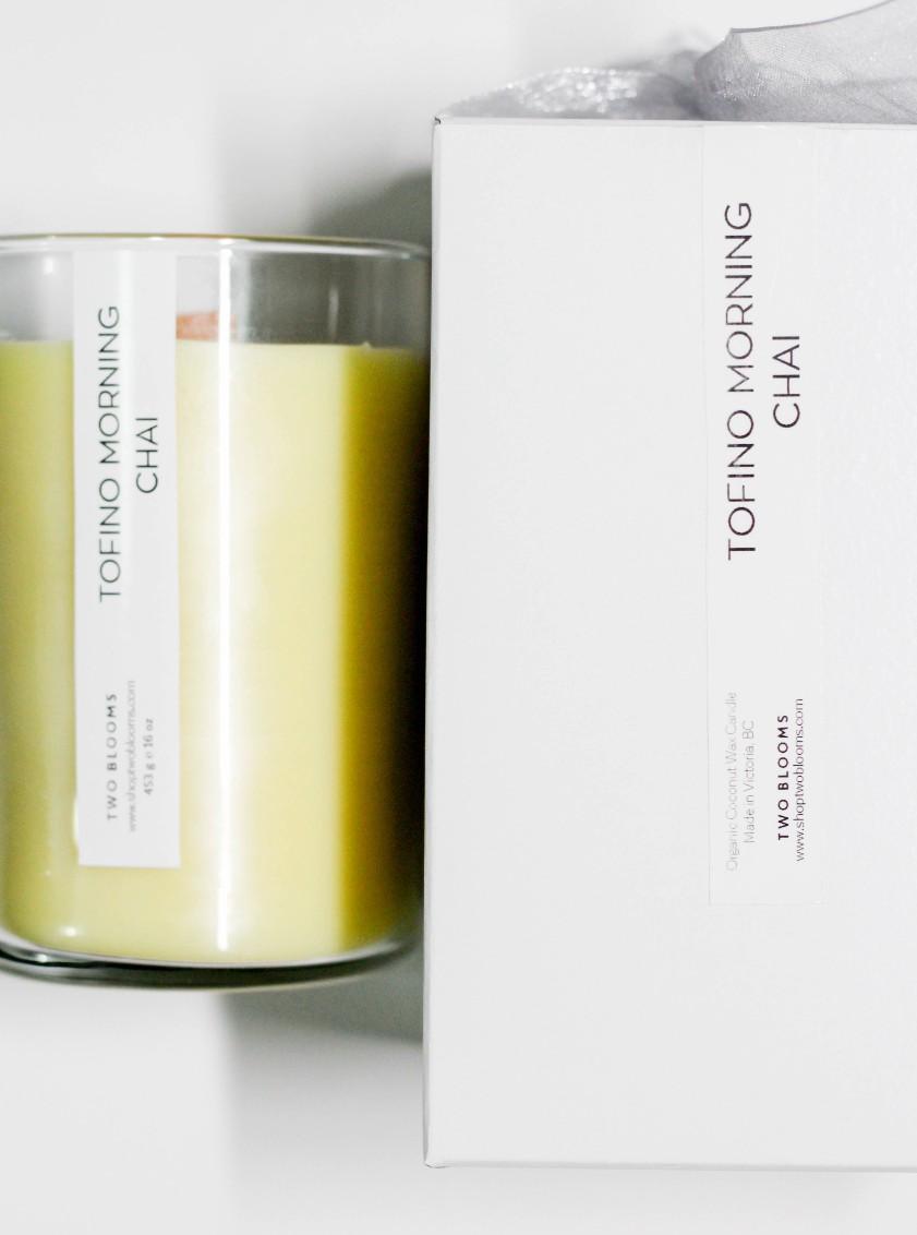Organic Tofino Chai coconut wax candles 16 oz Vancouver Island Canada