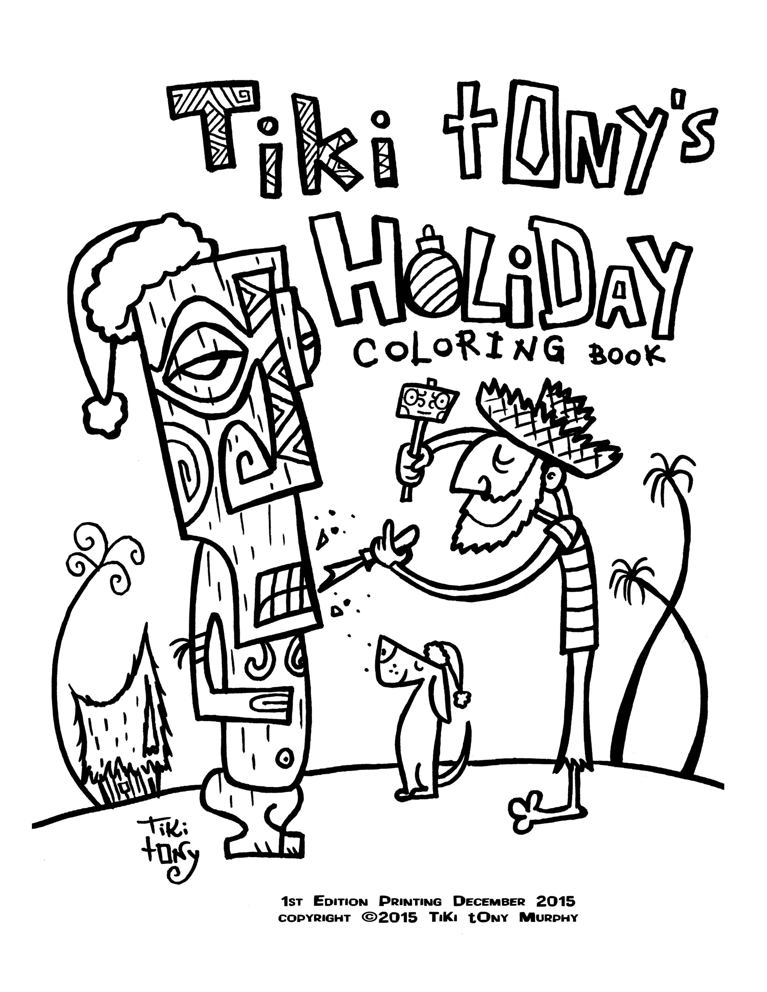 Tiki Tony S Holiday Adult Coloring Book Digital File Only 5 Tiki Tony