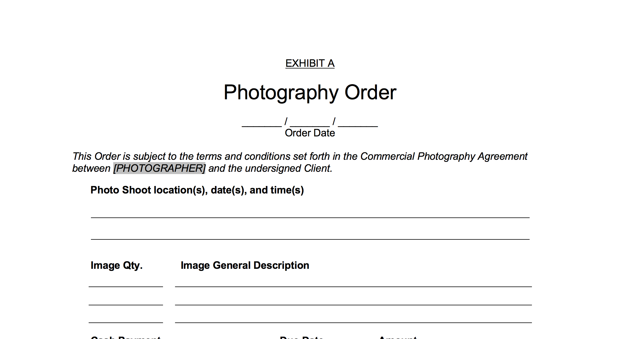 Contract Form Commercial Photography Agreement Lizzyography