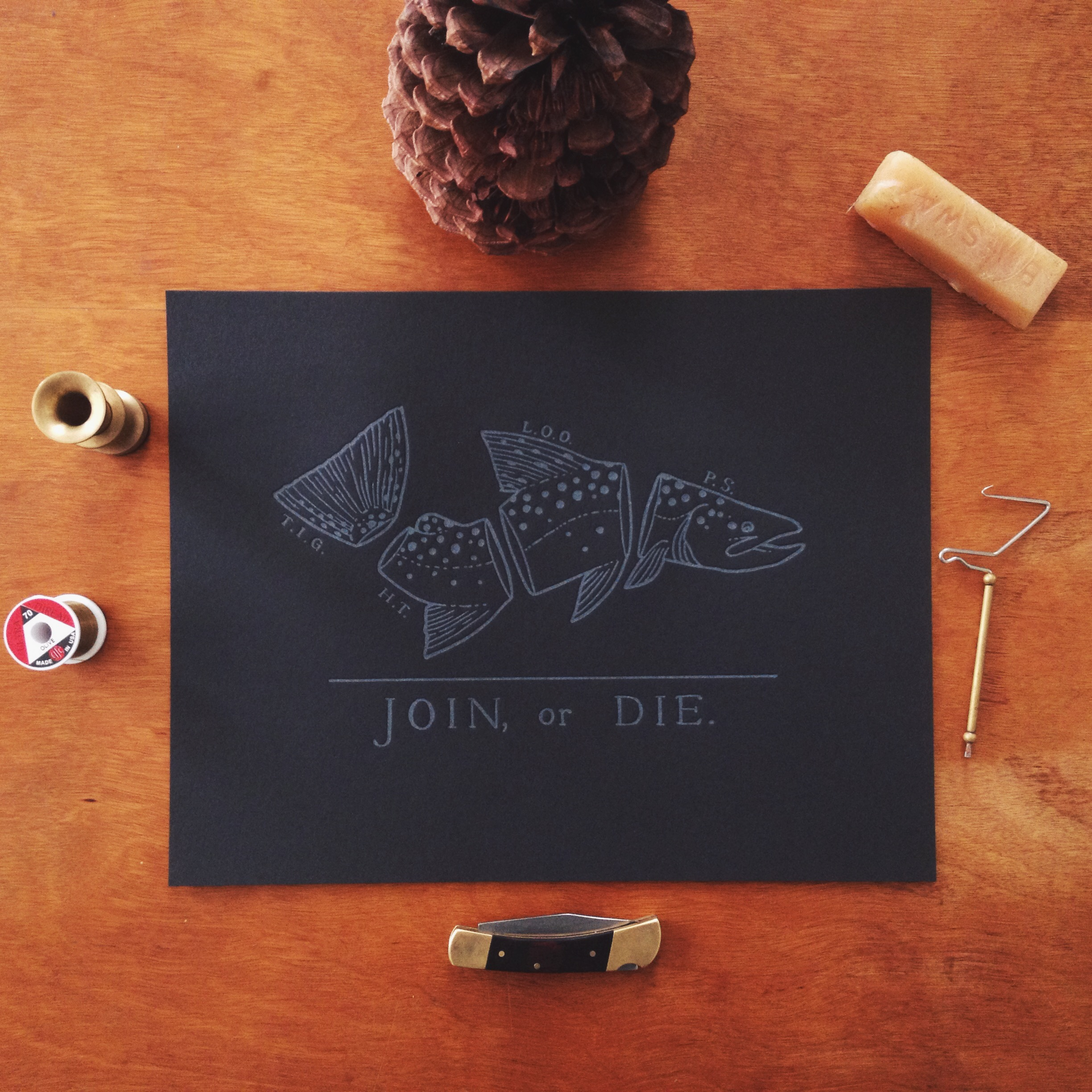Join Or Die Letterpress Print Tight Loops