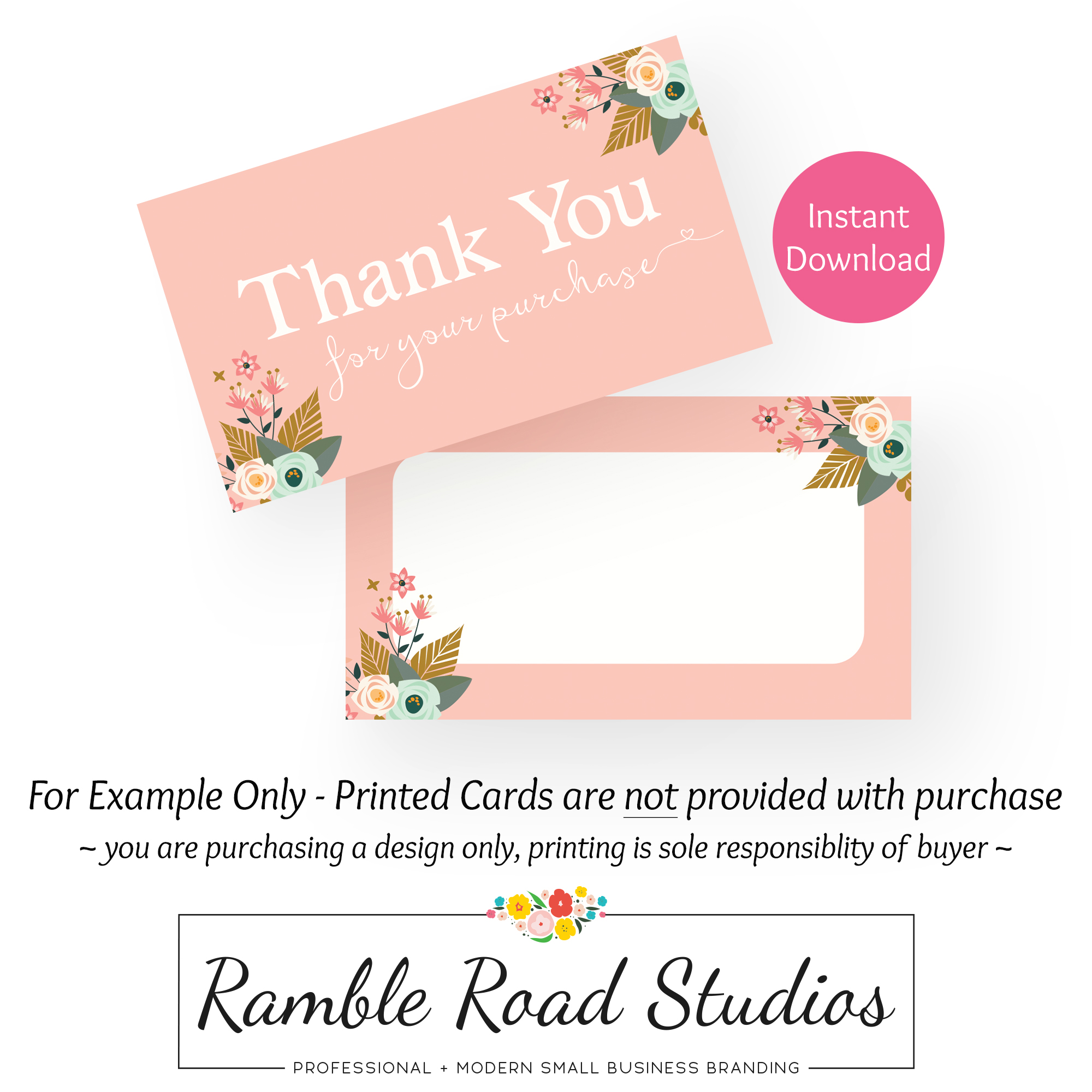 Fl Pink Thank You Card Design