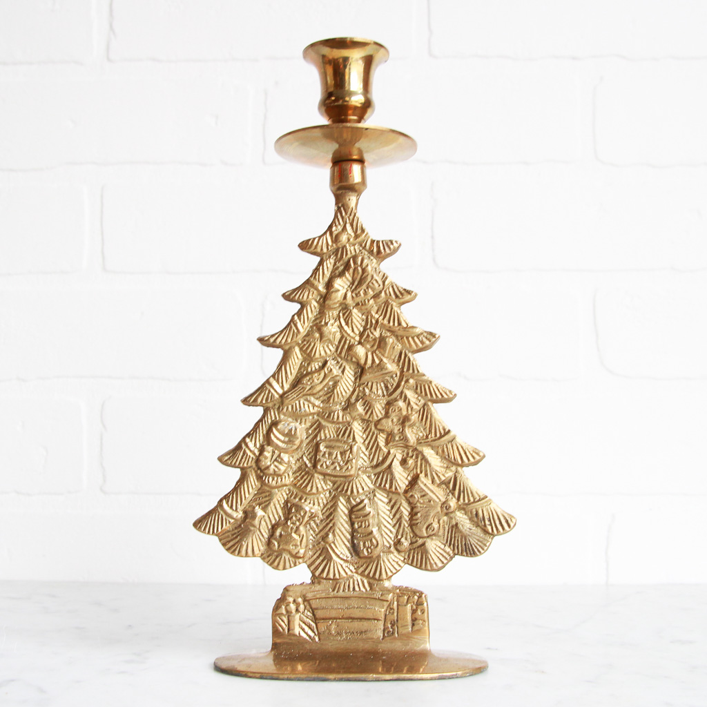 Vintage Brass Christmas Tree Candle Holder.Brass Christmas Tree Candle Holder Vintage Home Decor Portland Oregon Left Coast Revivals