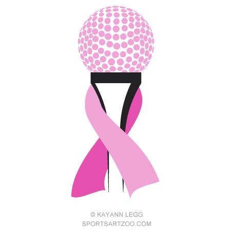 Golf Tee Breast Cancer Pink Ribbon Sportsartzoo