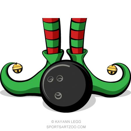 Bowling christmas. Elf feet sportsartzoo