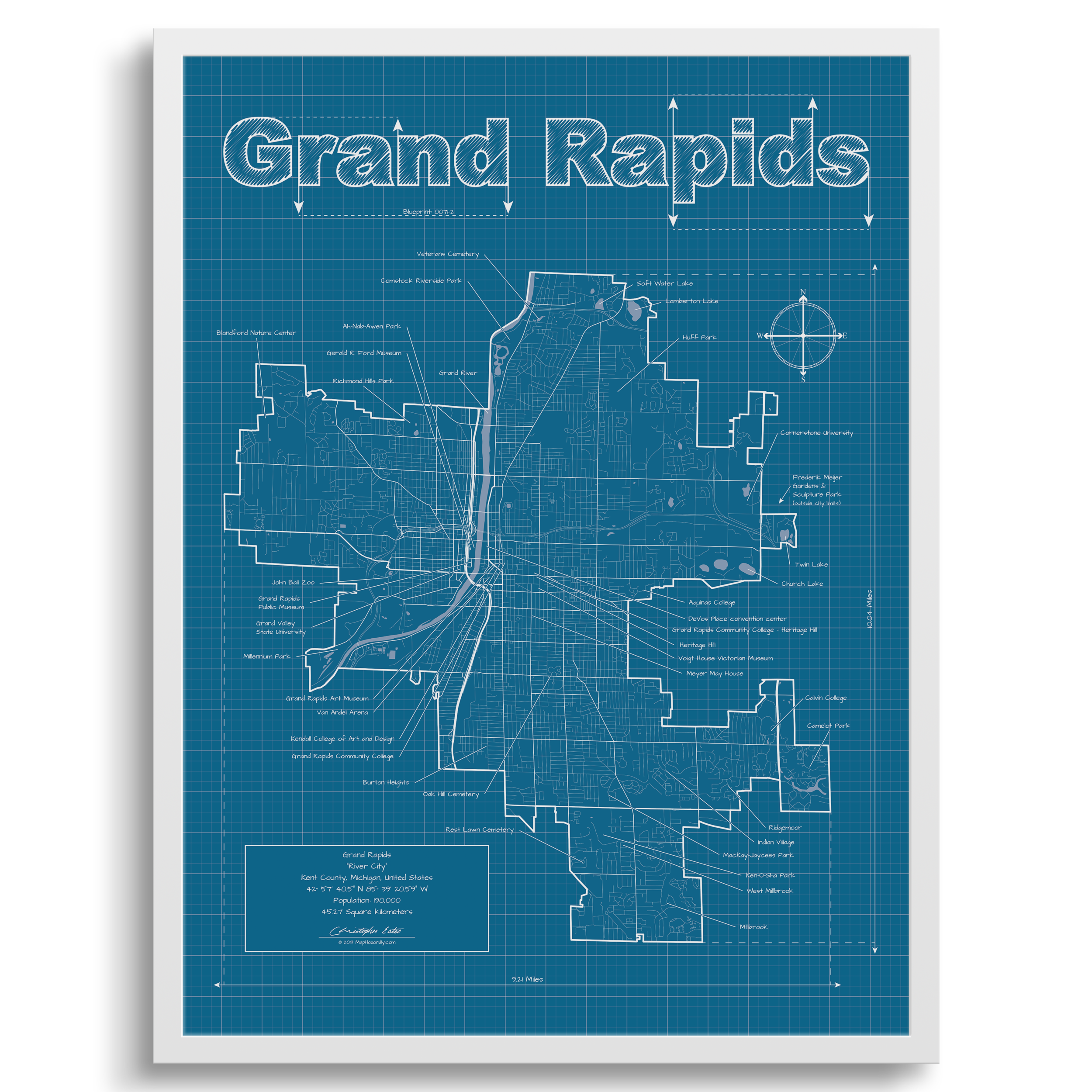 Grand Rapids Michigan Wall Map Blueprint Style Maphazardly