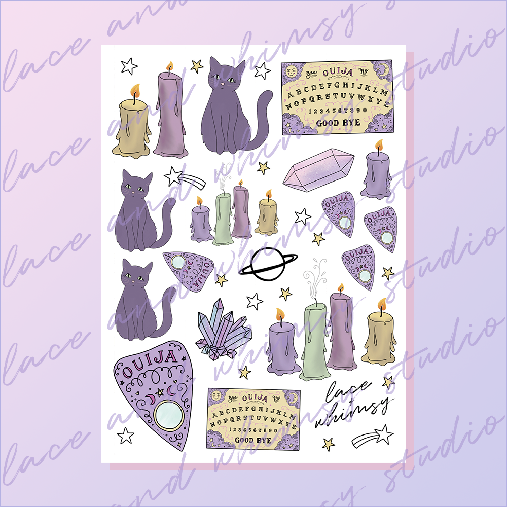 photograph regarding Printable Sticker Sheet identified as Ouija / Printable Sticker Sheet Lace Whimsy