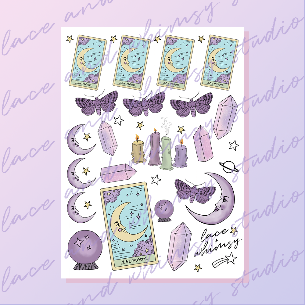 image regarding Printable Sticker Sheet referred to as Mystical Moon / Printable Sticker Sheet Lace Whimsy