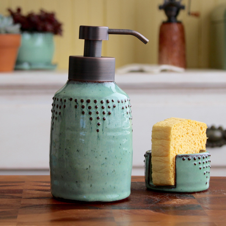 Foaming Soap Dispenser Bottle in Aqua Mist — Back Bay Pottery