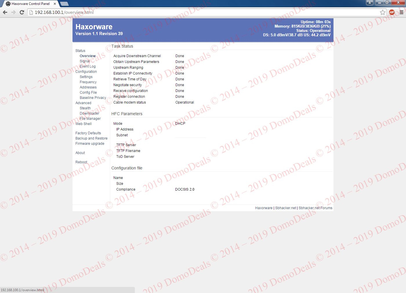 Motorola SB5101 premod with Haxorware