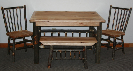 Rustic Hickory Dining Table — Barn Wood Furniture - Rustic Barnwood and Log  Furniture By Vienna Woodworks