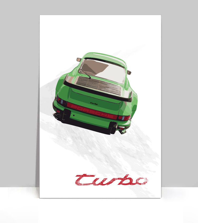 "Aluminum Poster 36/""x 24/"" Red Porsche 930 Turbo"
