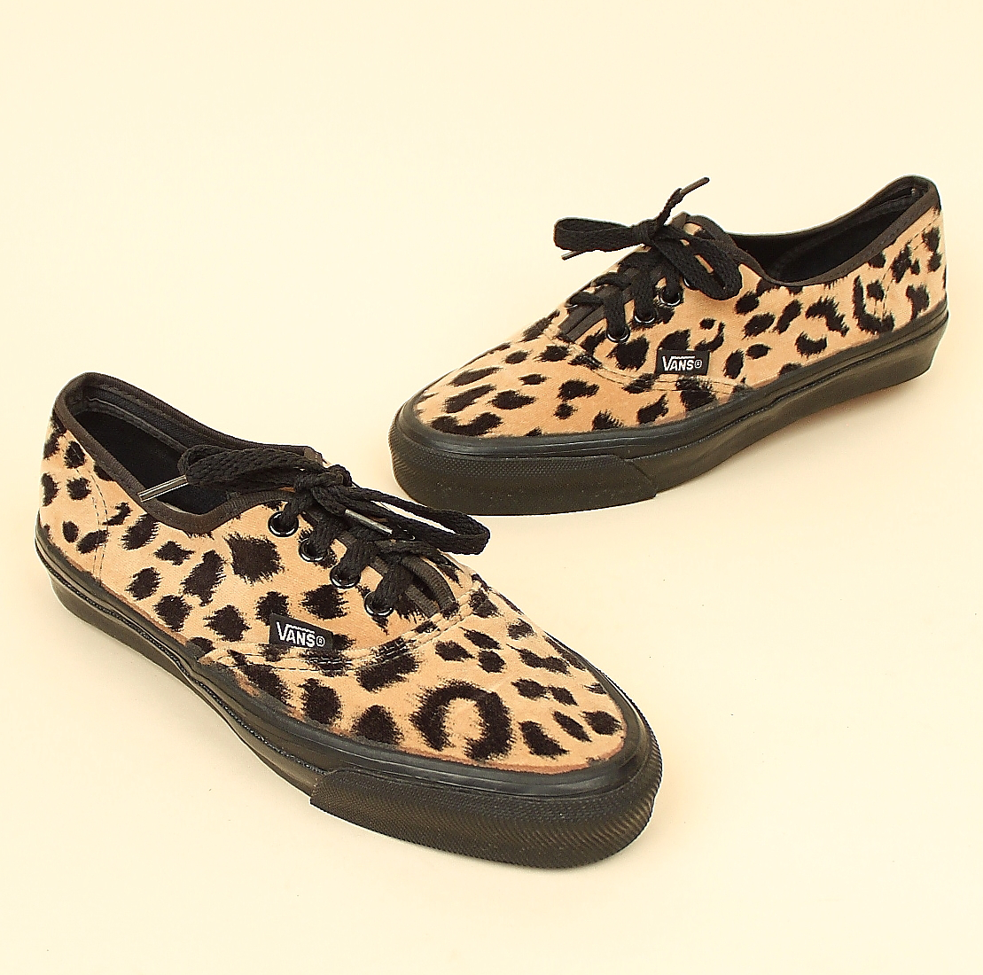 Vintage Velour Leopard Print VANS Shoes Made in USA