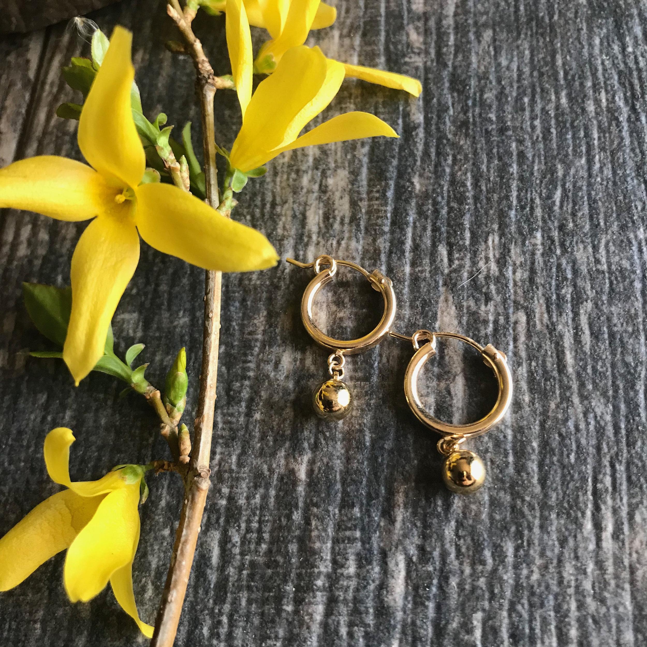 Small Gold Hoops Gold Hoops Gold Ball Hoop Earrings Huggie Hoops S