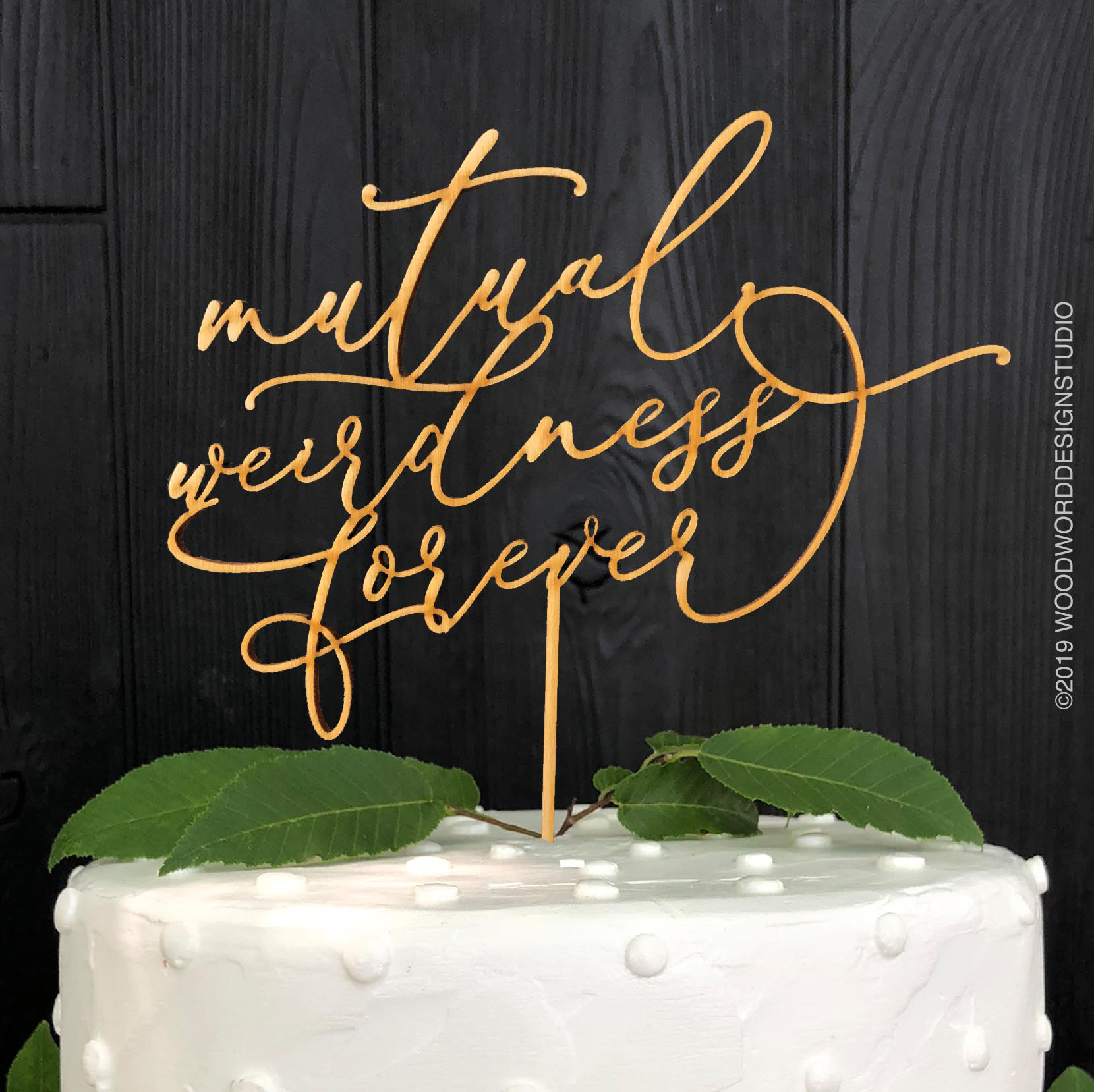 Nerdy Wedding Mutual Weirdness Forever Wedding Cake Topper Woodword Design Studio