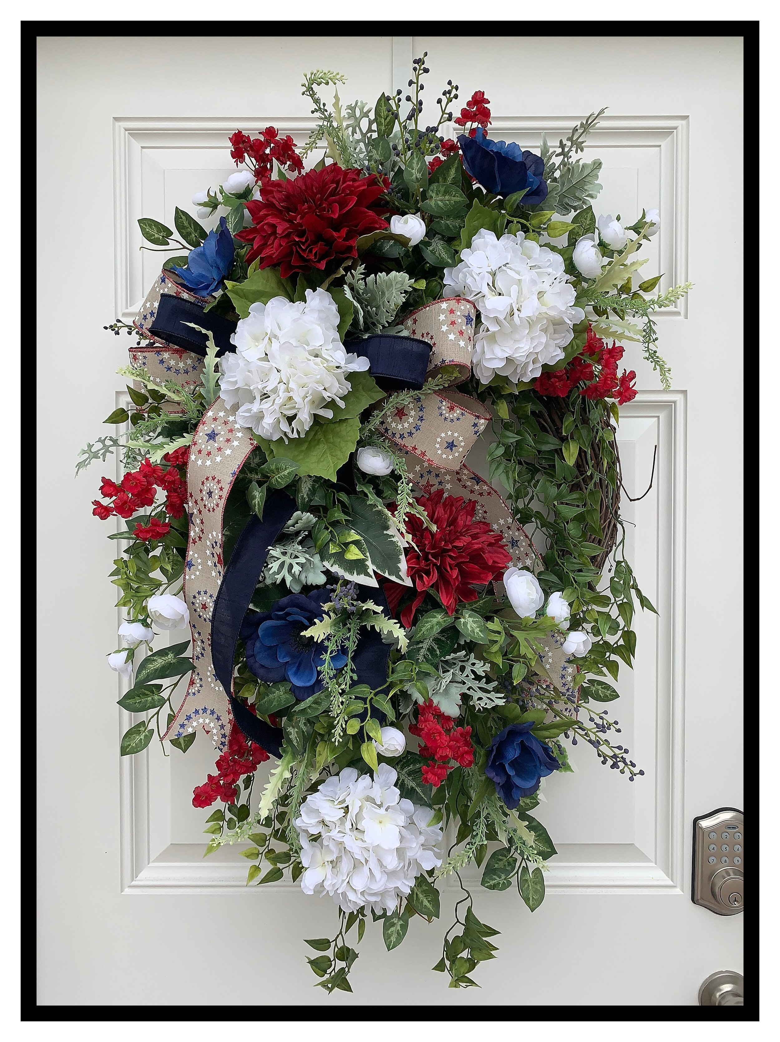 Patriotic Front Door Wreath Spring Summer Wreath Sugar Creek