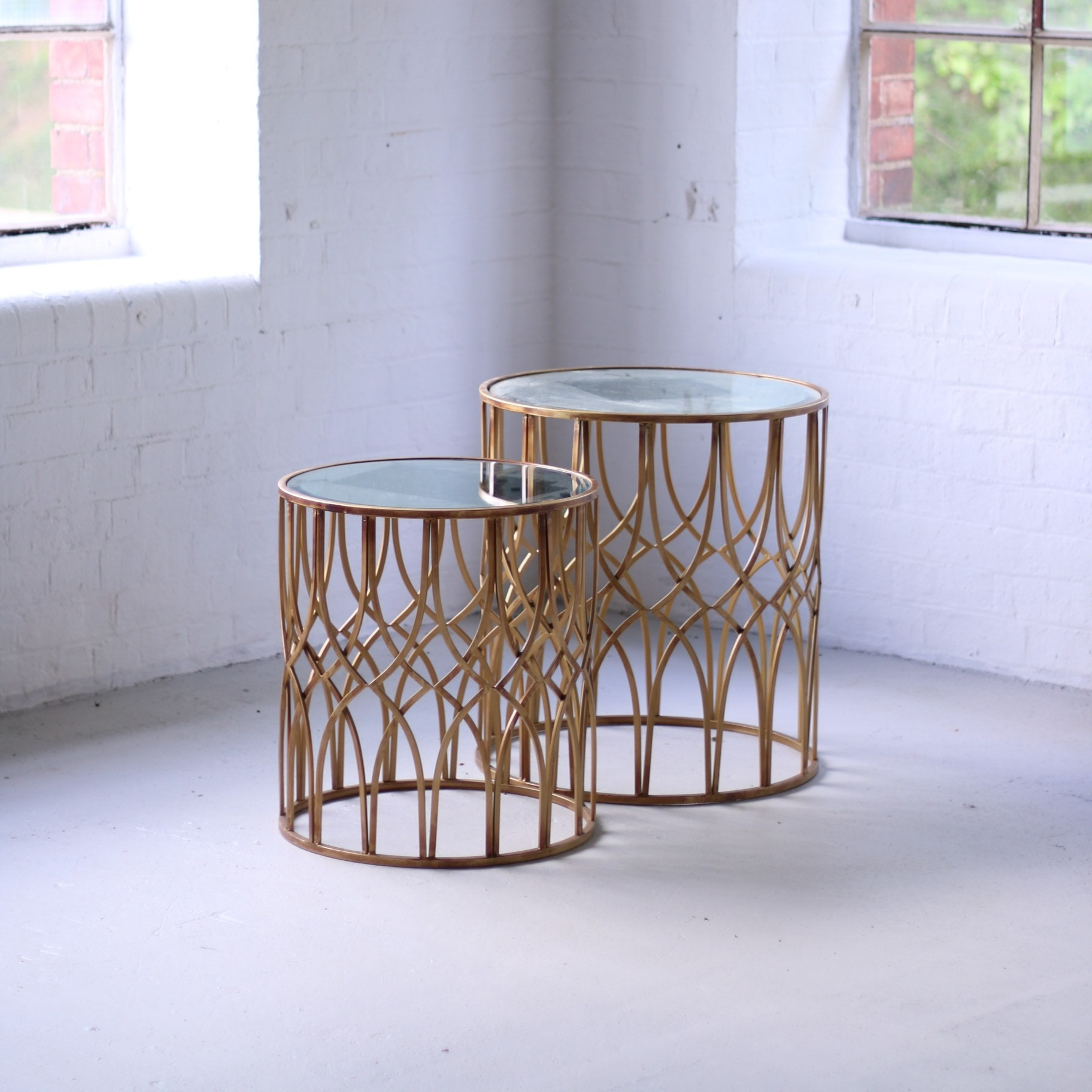 Gold Weave Side Table Set Wedhead Furniture Hire