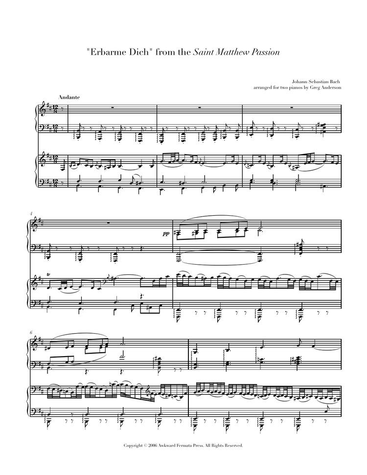 Bach: Erbarme Dich — Anderson & Roe Piano Duo