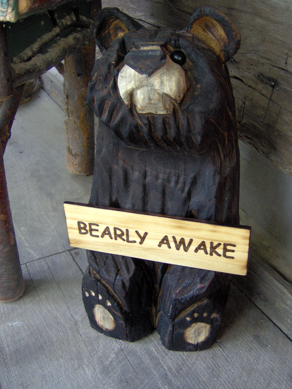 Chainsaw Carved Sitting Bear With Sign Ma Pa S