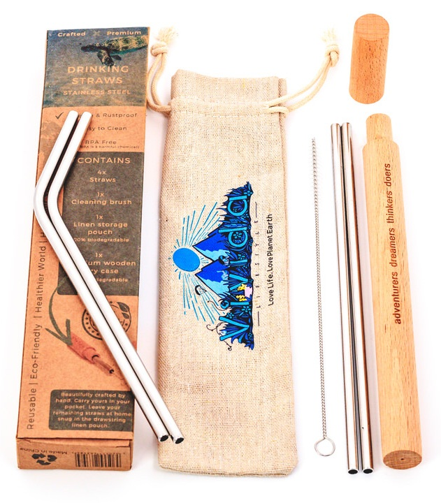 Stainless Steel Reusable Drinking Straw Set with Luxury Wooden Case, Pouch,  and Cleaning Brush | 4-Straws Per Set (2 Straight, 2 Bent)