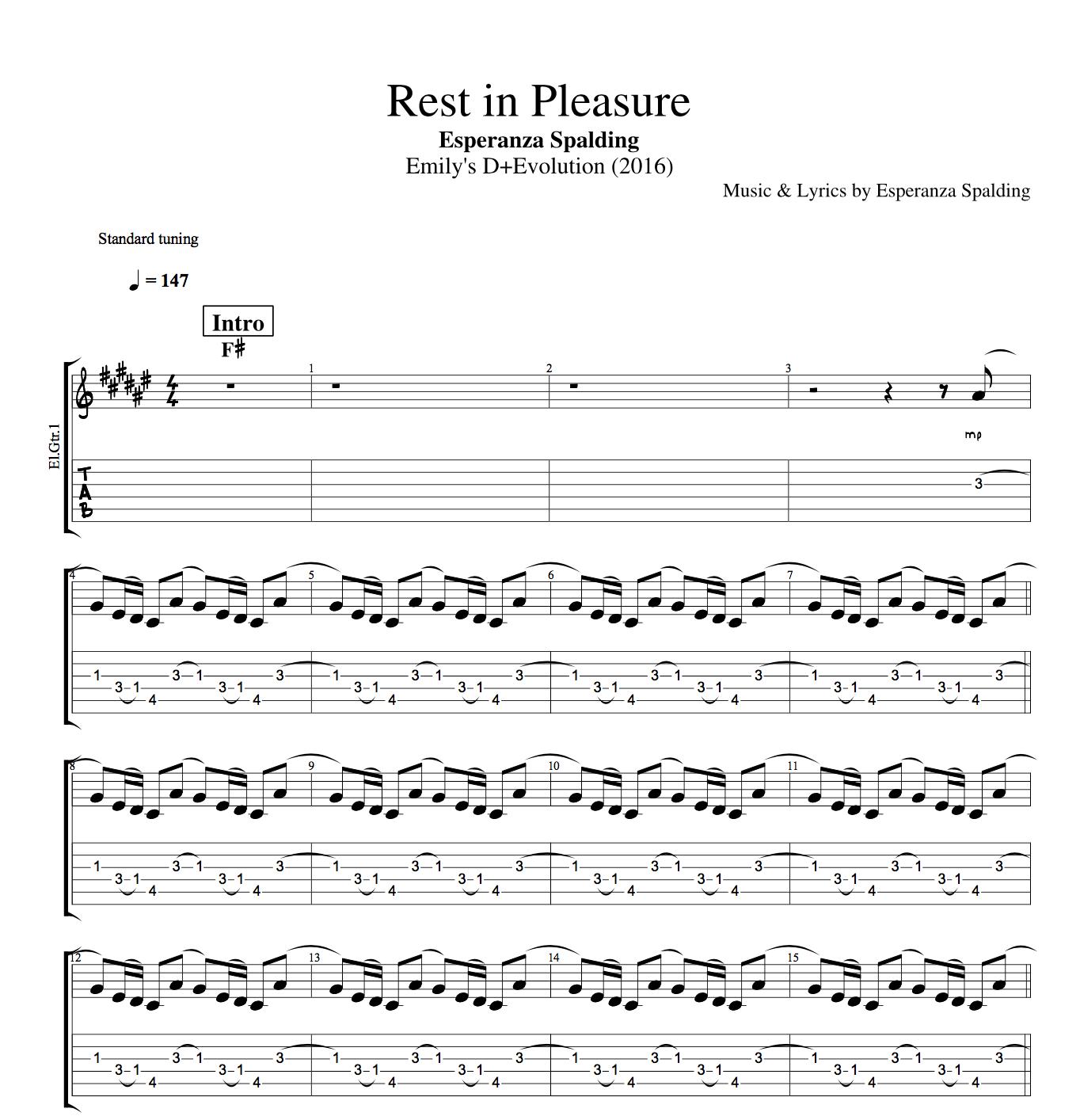 Rest In Pleasure By Esperanza Spalding Guitar Bass Vocals Tabs Sheet Musicscore Chords Lyrics Play Like The Greats Com