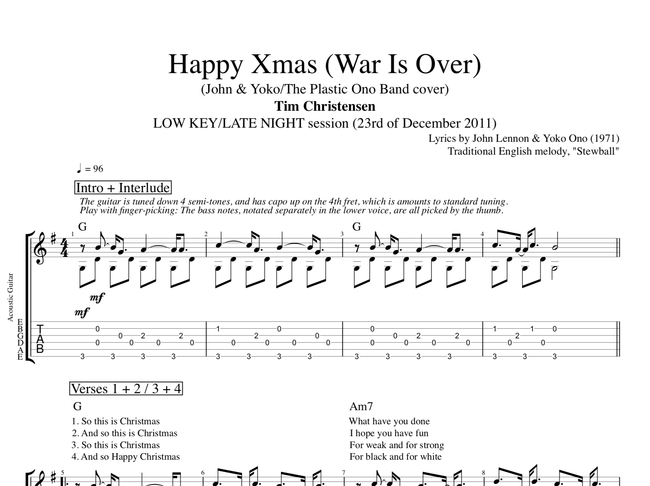 Happy Christmas War Is Over Chords.Happy Xmas War Is Over By Tim Christensen Guitar Tab Chords Lyrics Play Like The Greats Com