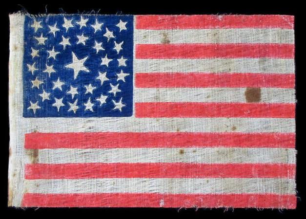 Pre Civil War 33 Star Antique Flag With