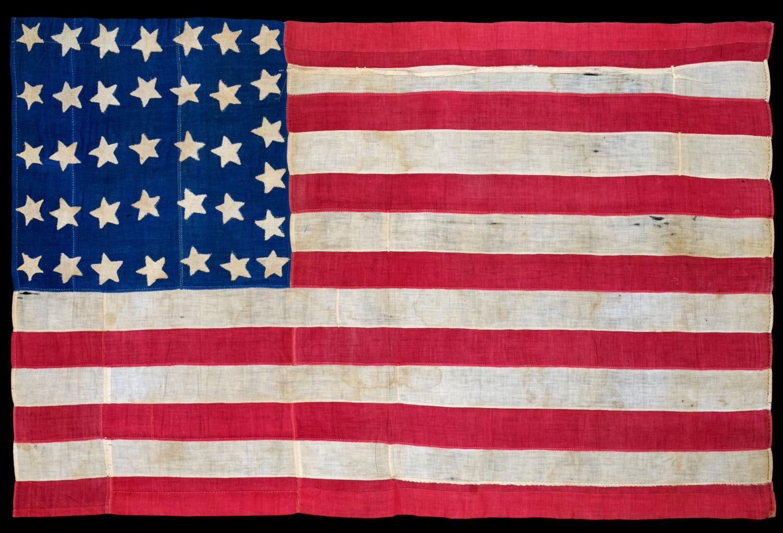 36 Star Antique Handsewn American Flag