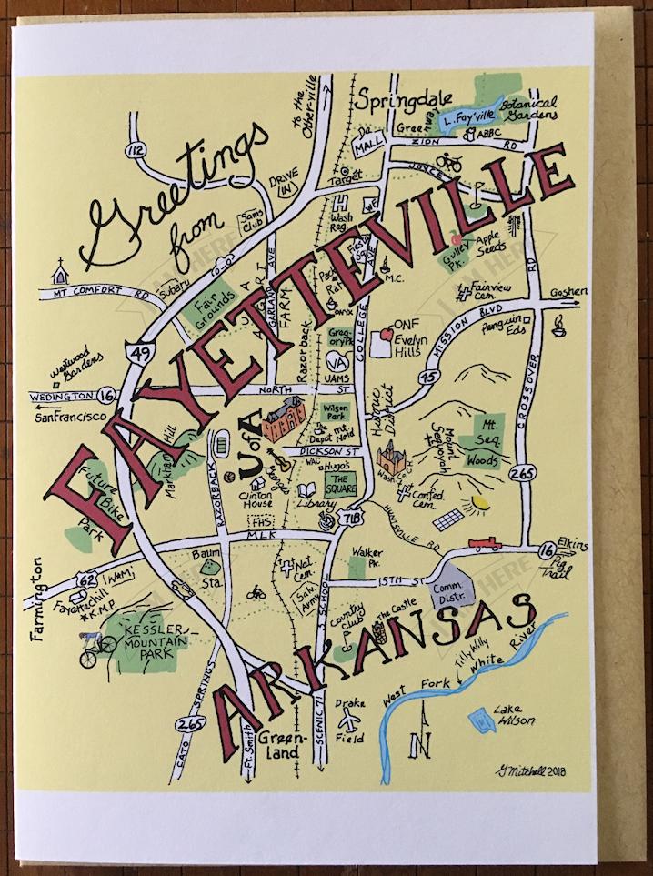 map of fayetteville arkansas Fayetteville Ar I Am Here Cards map of fayetteville arkansas