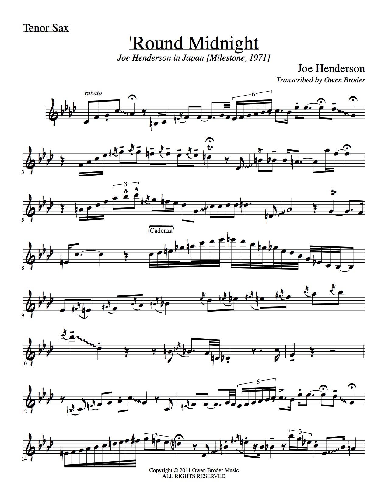 'Round Midnight (Henderson) - Tenor Sax  — Owen Broder