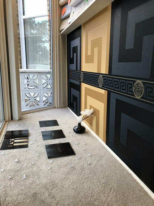 Versace Designer Wallpaper Black Gold Official Greek Key Luxury Satin Modern