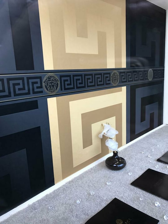 Versace Greek Key Wallpaper Featuring Black Wallpaper Gold Wallpaper And Border Home Decor Hull Limited