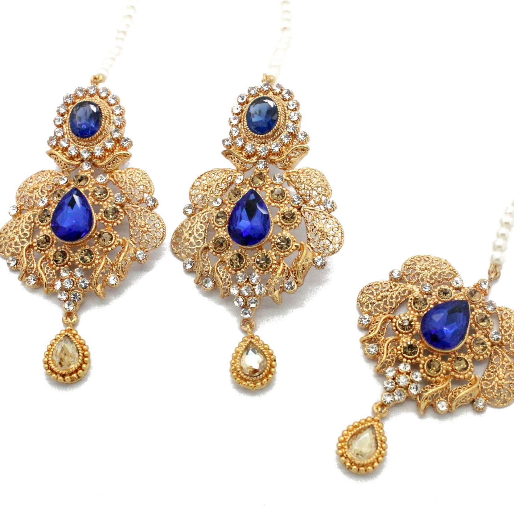 Antique Gold Royal Blue Lightweigth Pakistani Indian Tikka Earring